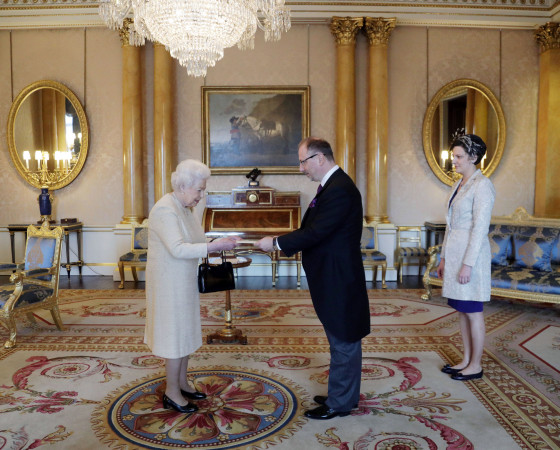 Queen Elizabeth II with Arkady Rzegocki, Ambassador of the Republic of Poland in the UK and wife Jolanta as he presents his Letters of Credence during an audience at Buckingham Palace, London.